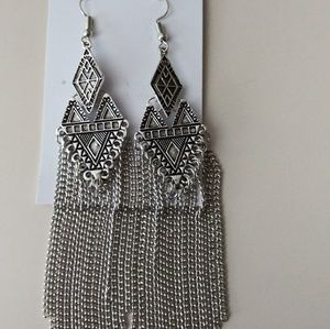 SILVER ART DECO INSPIRED TASSEL EARRINGS